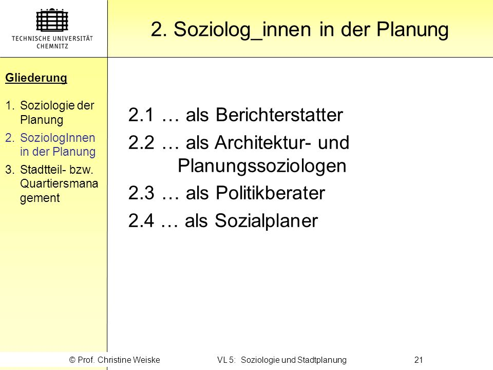 2. Soziolog_innen in der Planung