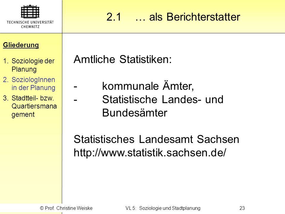 Gliederung 2.1 … als Berichterstatter Amtliche Statistiken: