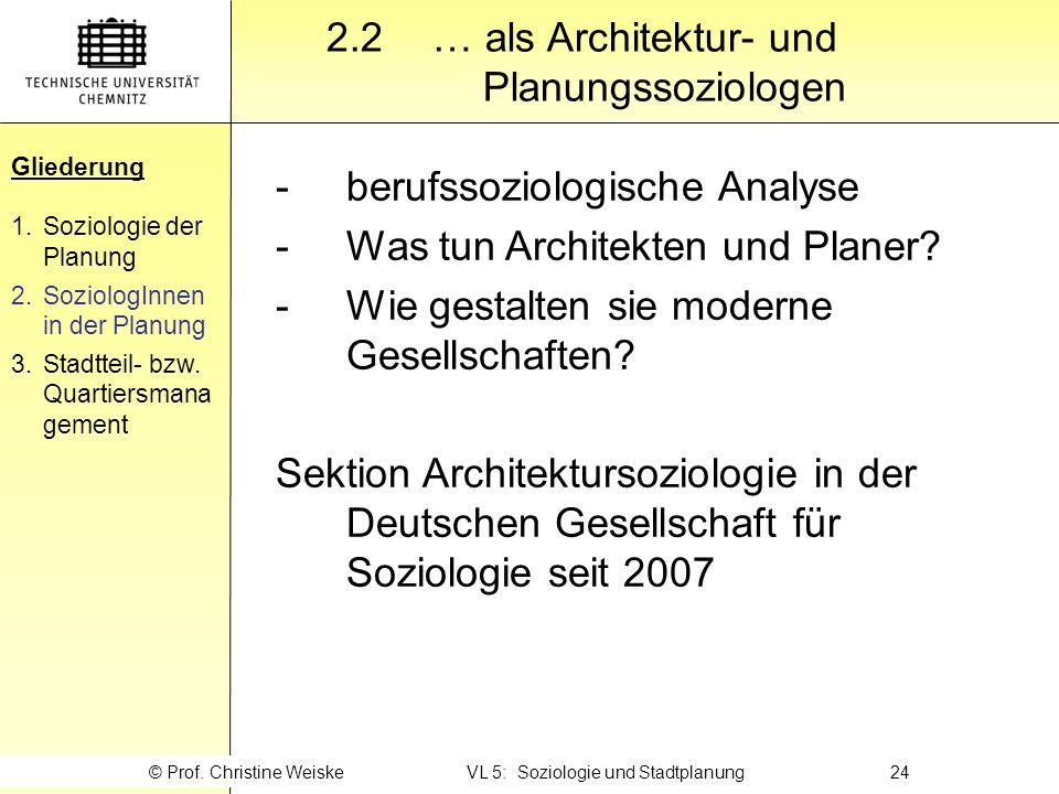 Gliederung 2.2 … als Architektur- und Planungssoziologen