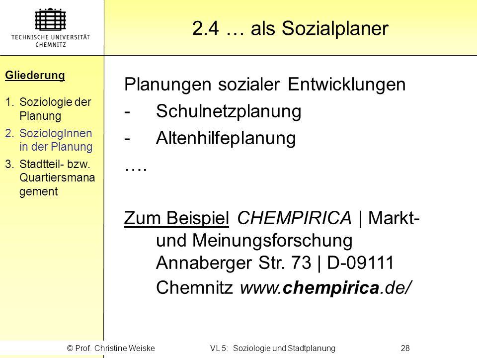 © Prof. Christine Weiske VL 5: Soziologie und Stadtplanung 28
