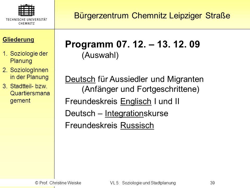 Gliederung Programm 07. 12. – 13. 12. 09 (Auswahl)