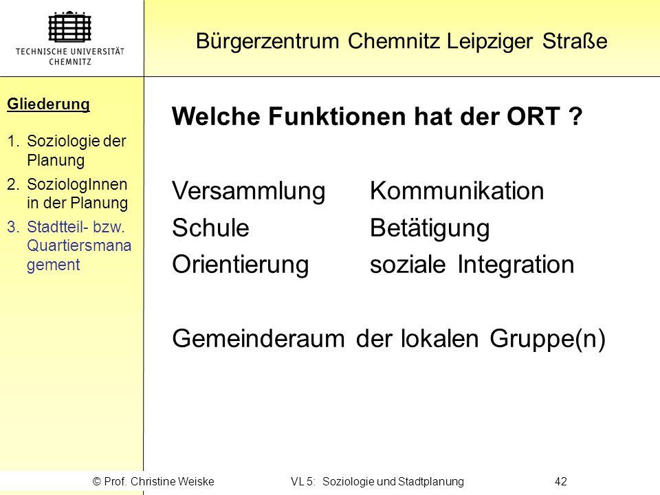 Gliederung Welche Funktionen hat der ORT Versammlung Kommunikation
