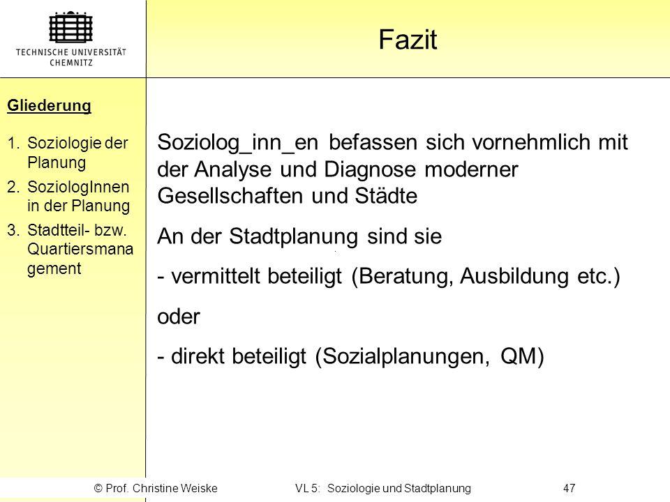 © Prof. Christine Weiske VL 5: Soziologie und Stadtplanung 47