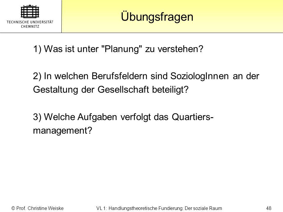 Gliederung Übungsfragen 1) Was ist unter Planung zu verstehen