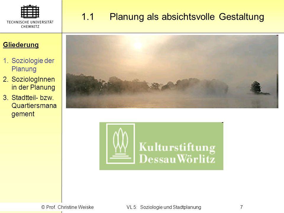 Gliederung 1.1 Planung als absichtsvolle Gestaltung Gliederung