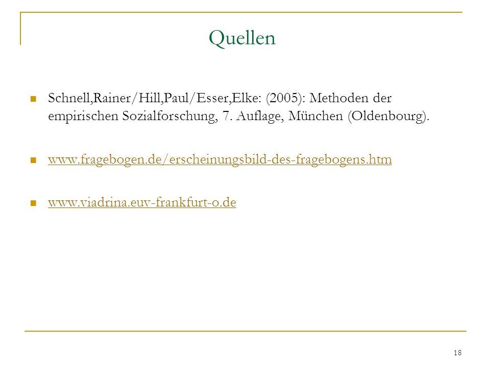 Quellen Schnell,Rainer/Hill,Paul/Esser,Elke: (2005): Methoden der empirischen Sozialforschung, 7. Auflage, München (Oldenbourg).