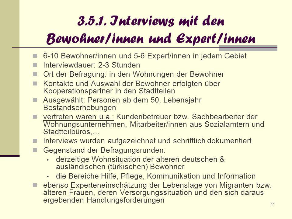 3.5.1. Interviews mit den Bewohner/innen und Expert/innen