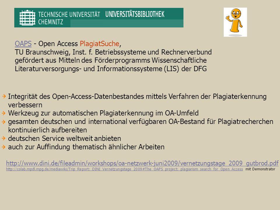 OAPS - Open Access PlagiatSuche,