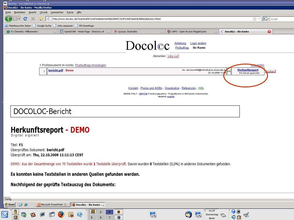 OAPS - Demonstrator DOCOLOC-Bericht