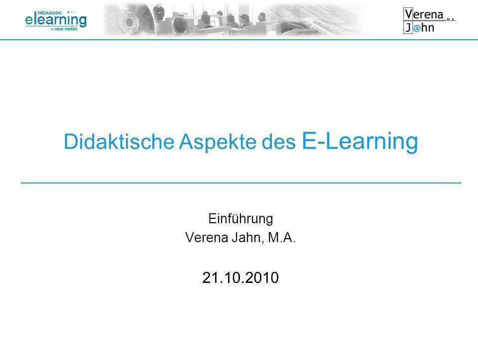 Didaktische Aspekte des E-Learning