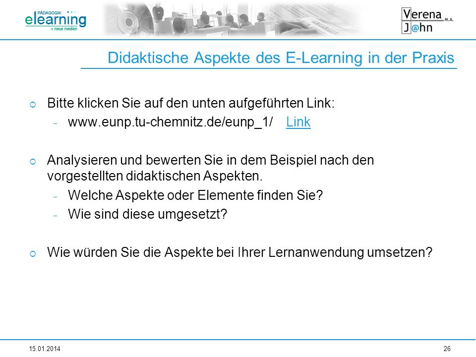 Didaktische Aspekte des E-Learning in der Praxis