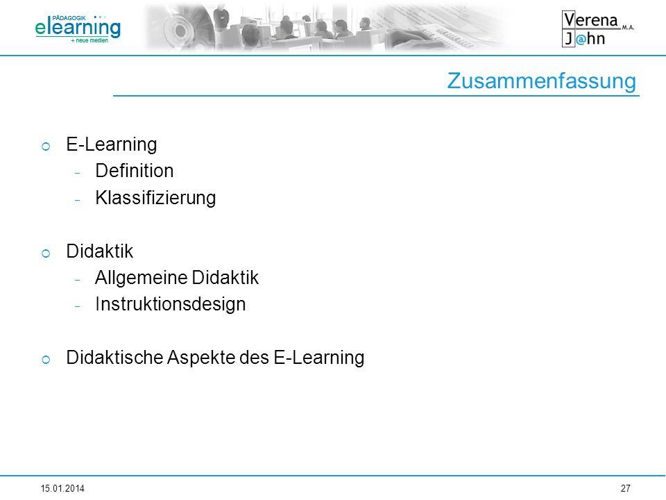 Zusammenfassung E-Learning Definition Klassifizierung Didaktik