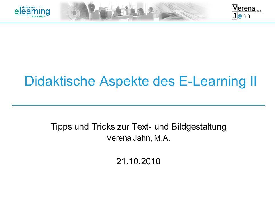 Didaktische Aspekte des E-Learning II