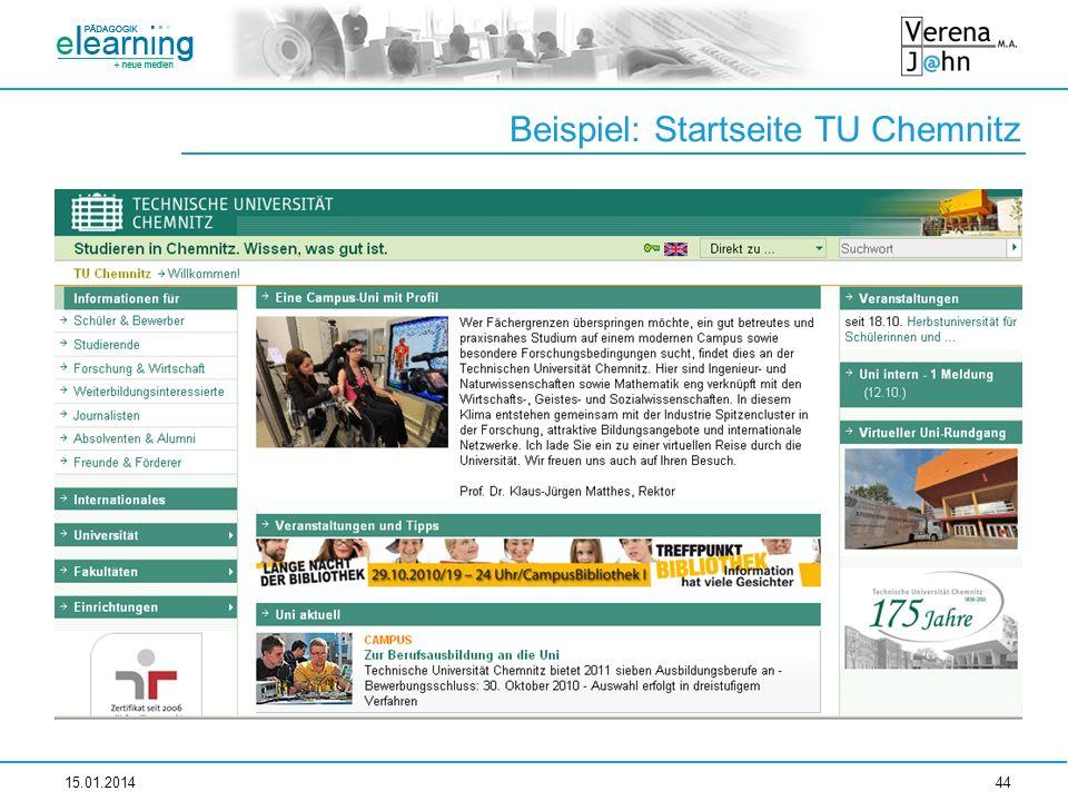 Beispiel: Startseite TU Chemnitz
