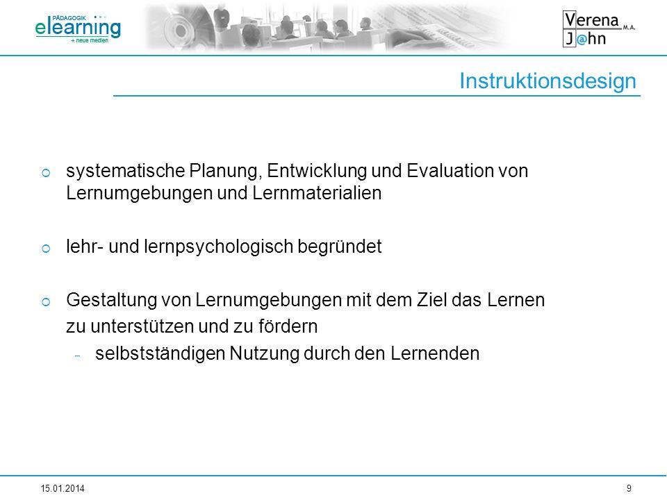 Instruktionsdesignsystematische Planung, Entwicklung und Evaluation von Lernumgebungen und Lernmaterialien.