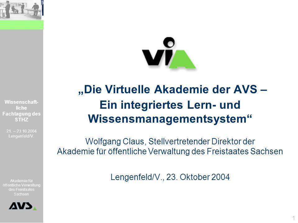 """""""Die Virtuelle Akademie der AVS – Ein integriertes Lern- und Wissensmanagementsystem"""