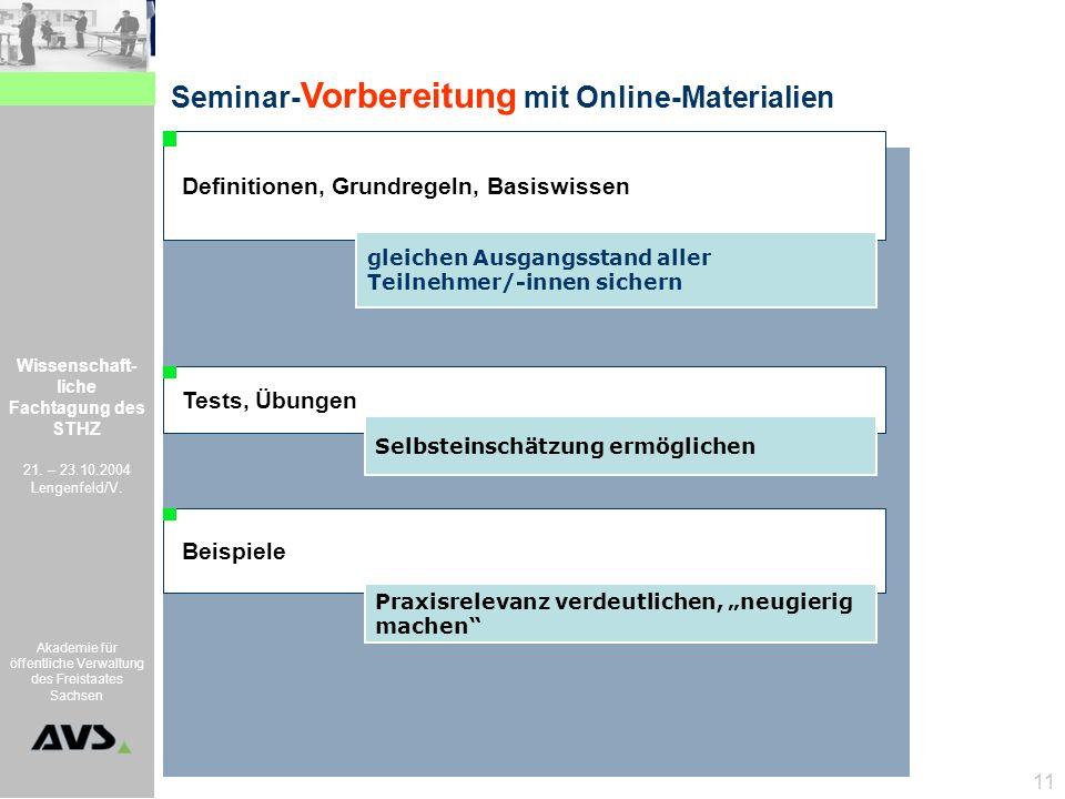 Seminar-Vorbereitung mit Online-Materialien