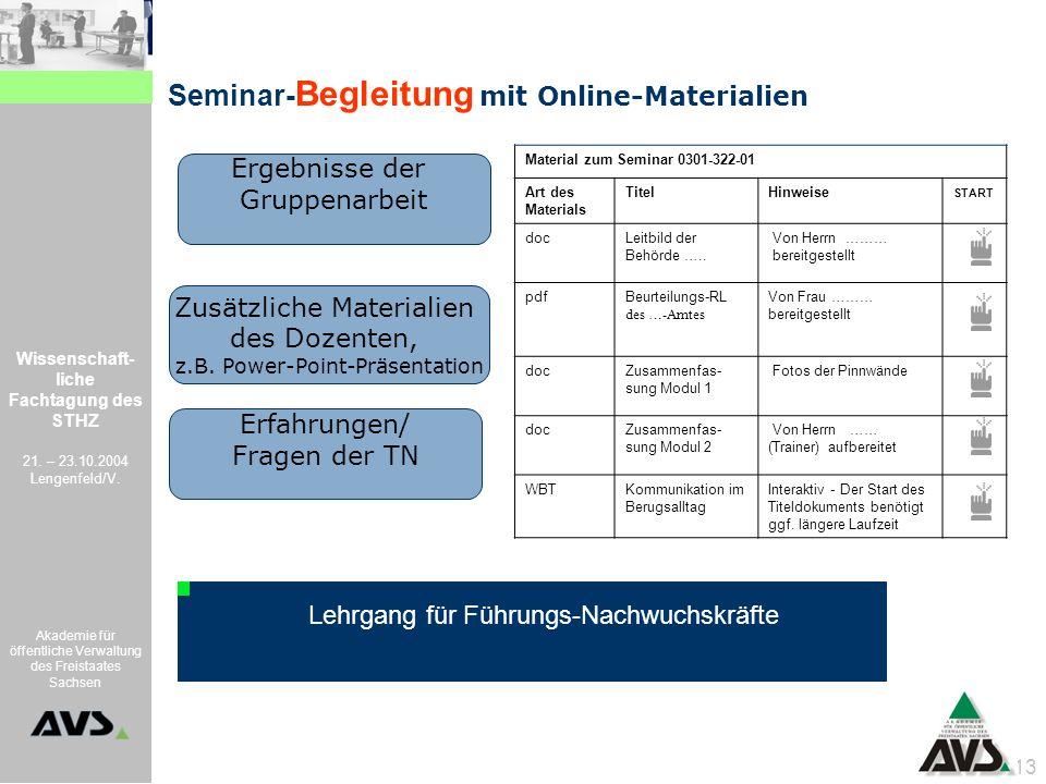 Seminar-Begleitung mit Online-Materialien