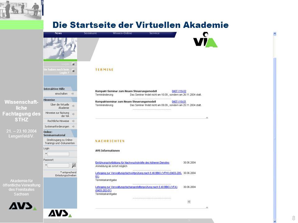 Die Startseite der Virtuellen Akademie