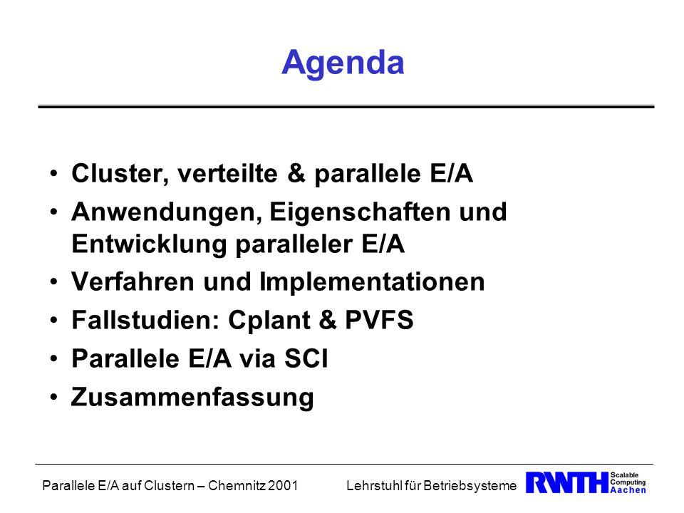 Agenda Cluster, verteilte & parallele E/A