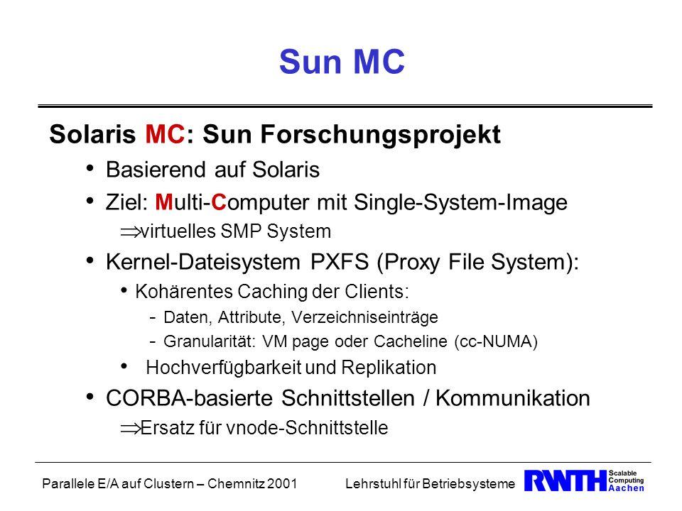 Sun MC Solaris MC: Sun Forschungsprojekt Basierend auf Solaris