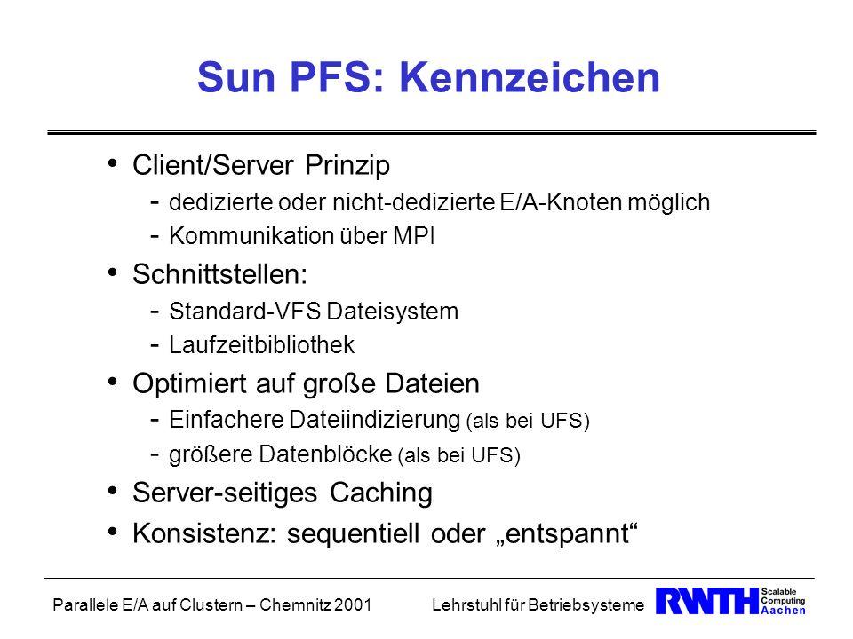 Sun PFS: Kennzeichen Client/Server Prinzip Schnittstellen: