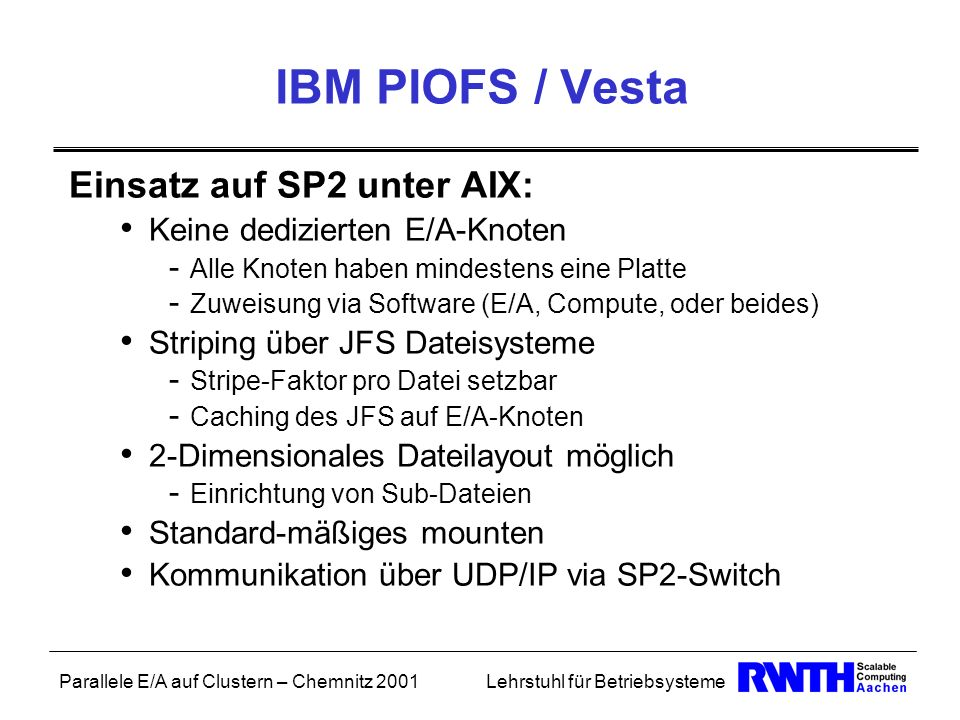 IBM PIOFS / Vesta Einsatz auf SP2 unter AIX: