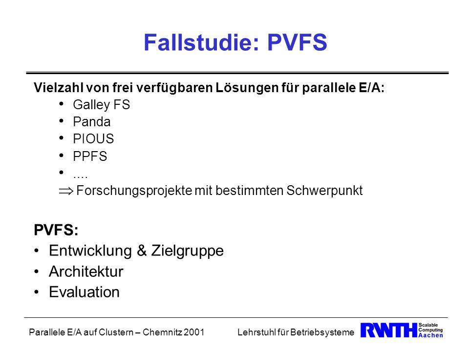 Fallstudie: PVFS PVFS: Entwicklung & Zielgruppe Architektur Evaluation