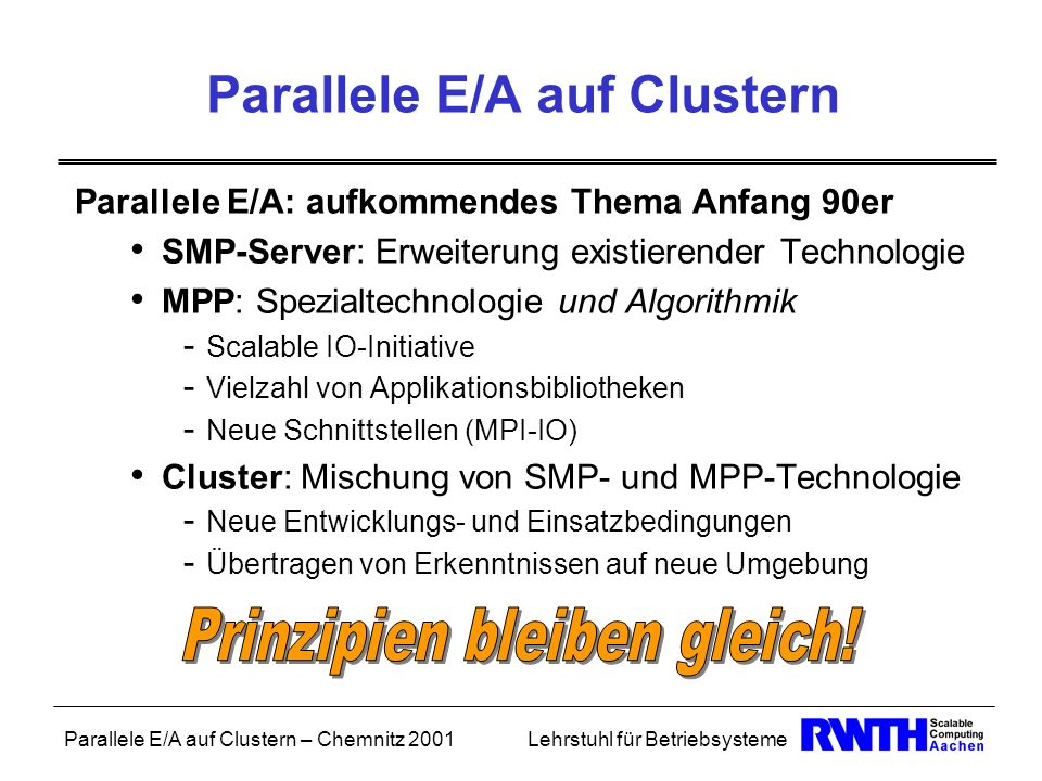 Parallele E/A auf Clustern