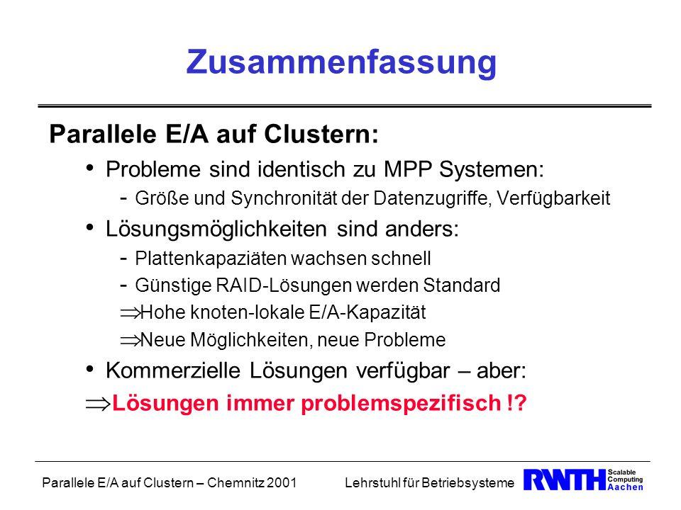 Zusammenfassung Parallele E/A auf Clustern: