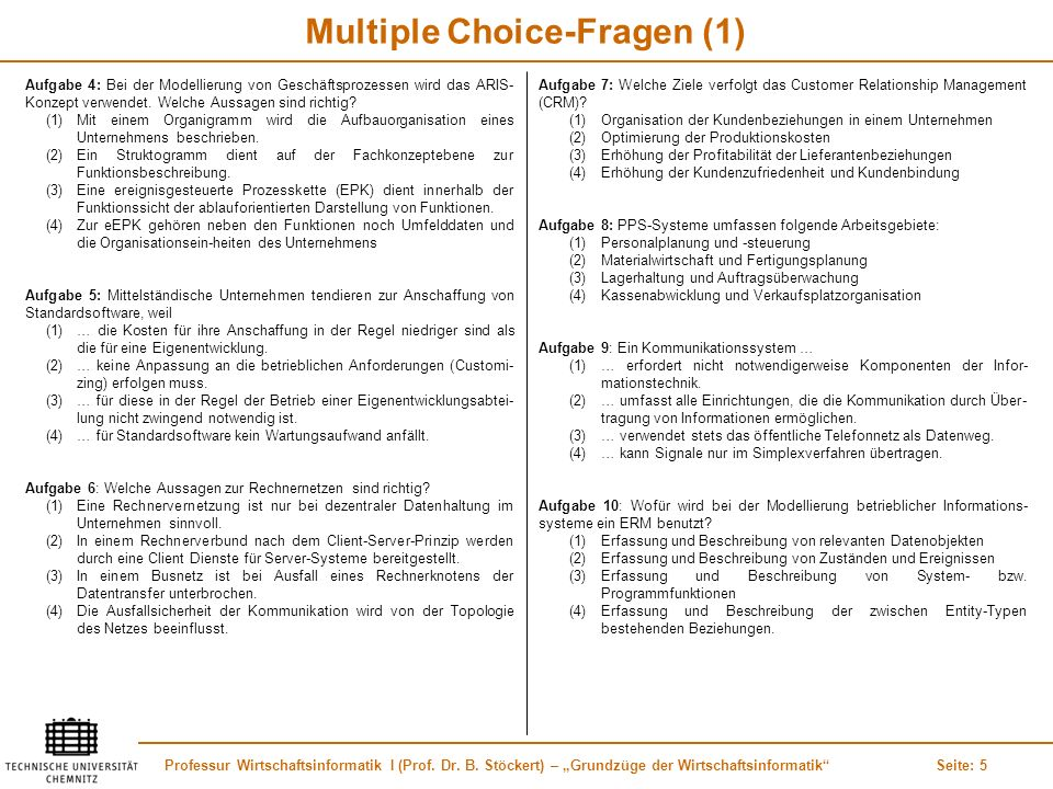 Multiple Choice-Fragen (1)