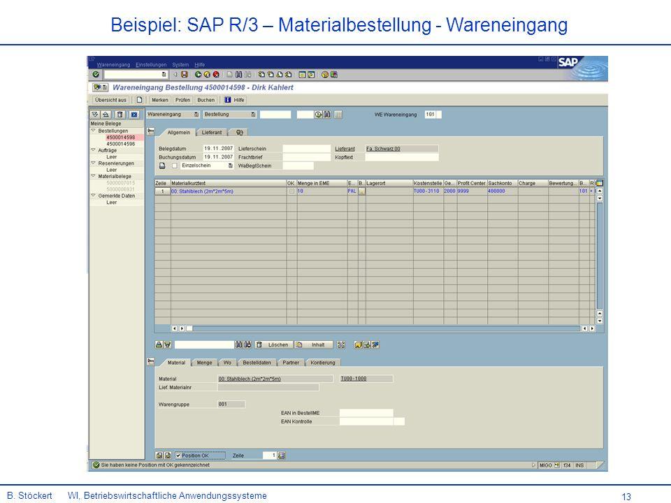 Beispiel: SAP R/3 – Materialbestellung - Wareneingang