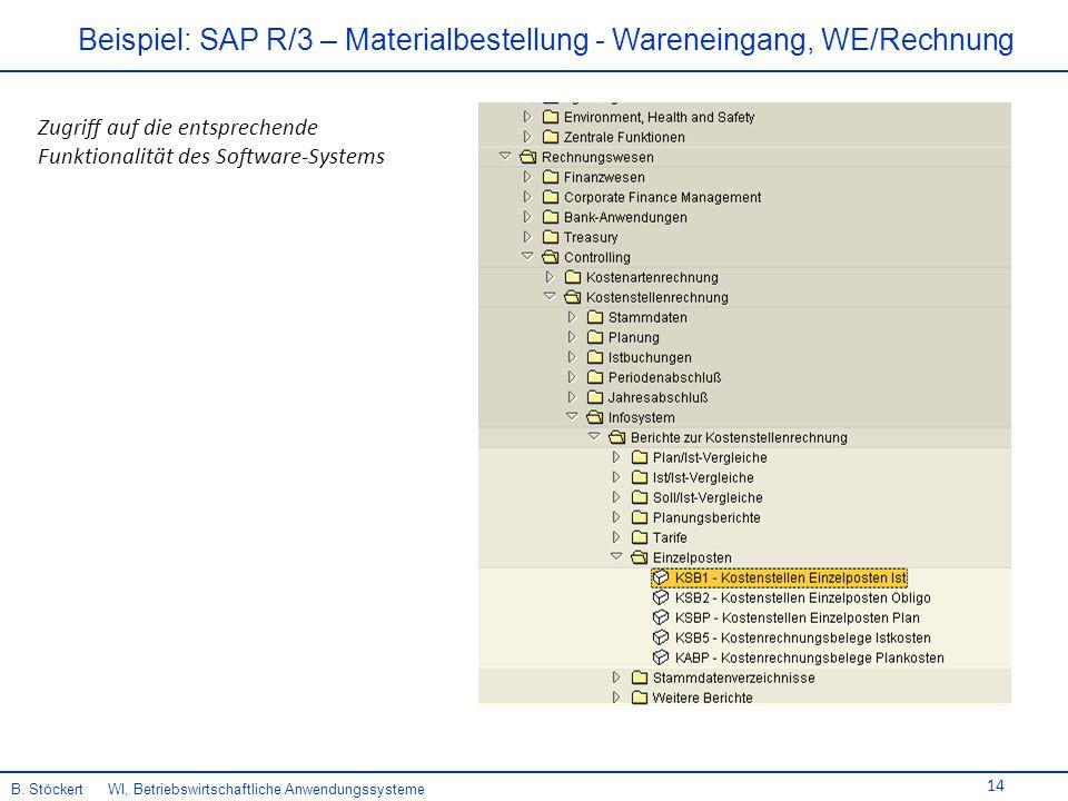 Beispiel: SAP R/3 – Materialbestellung - Wareneingang, WE/Rechnung