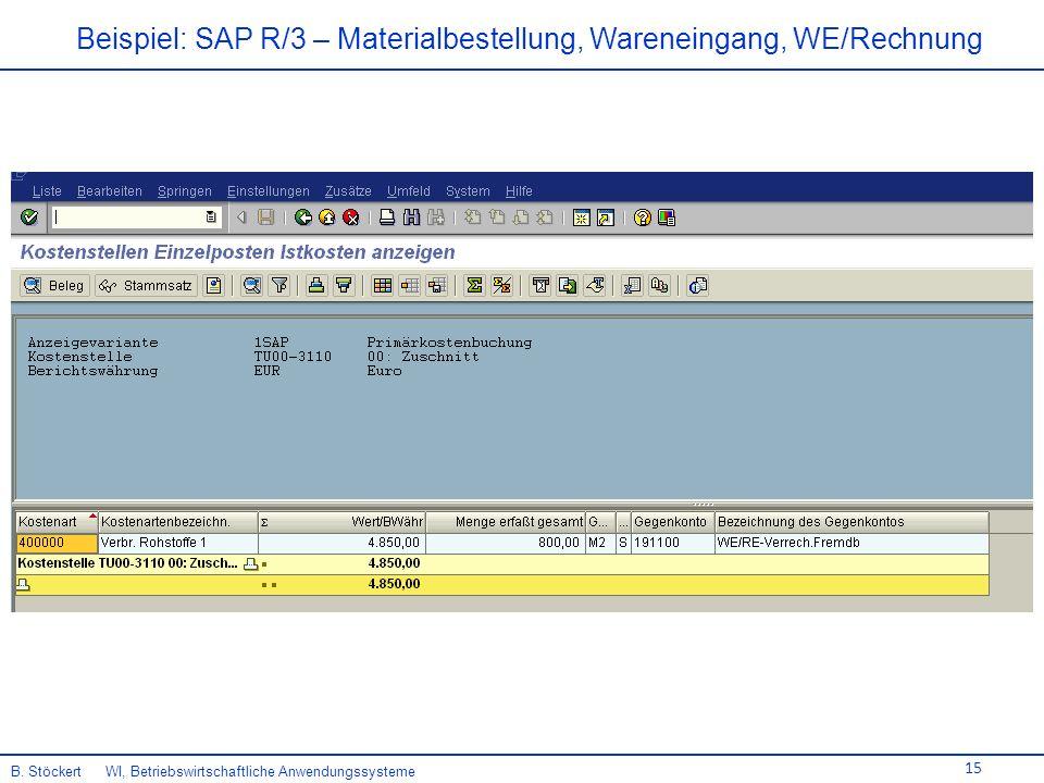 Beispiel: SAP R/3 – Materialbestellung, Wareneingang, WE/Rechnung