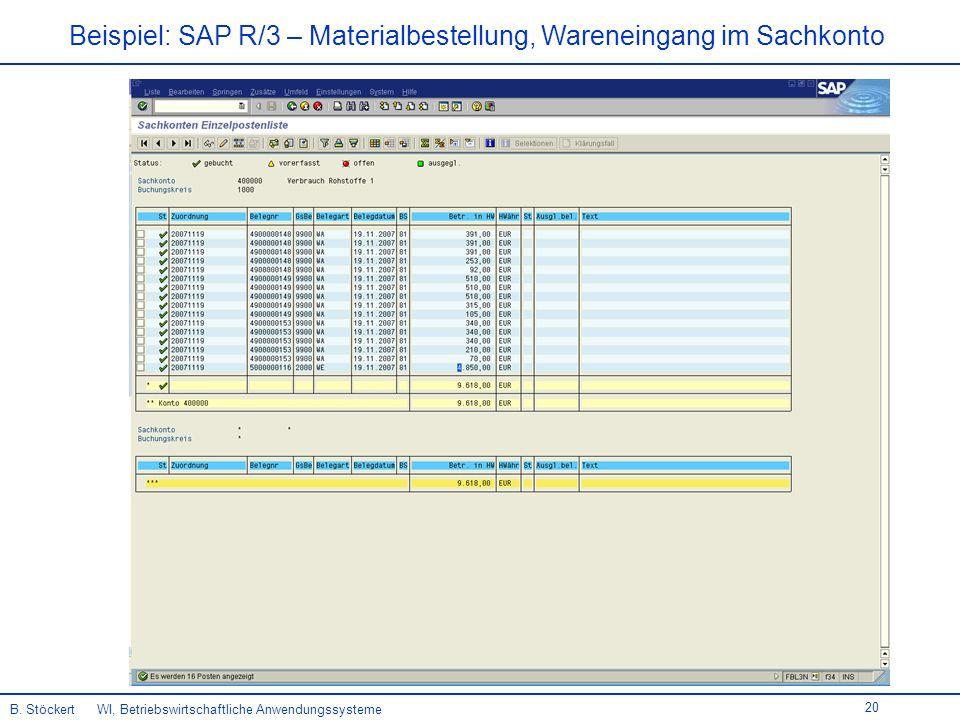 Beispiel: SAP R/3 – Materialbestellung, Wareneingang im Sachkonto