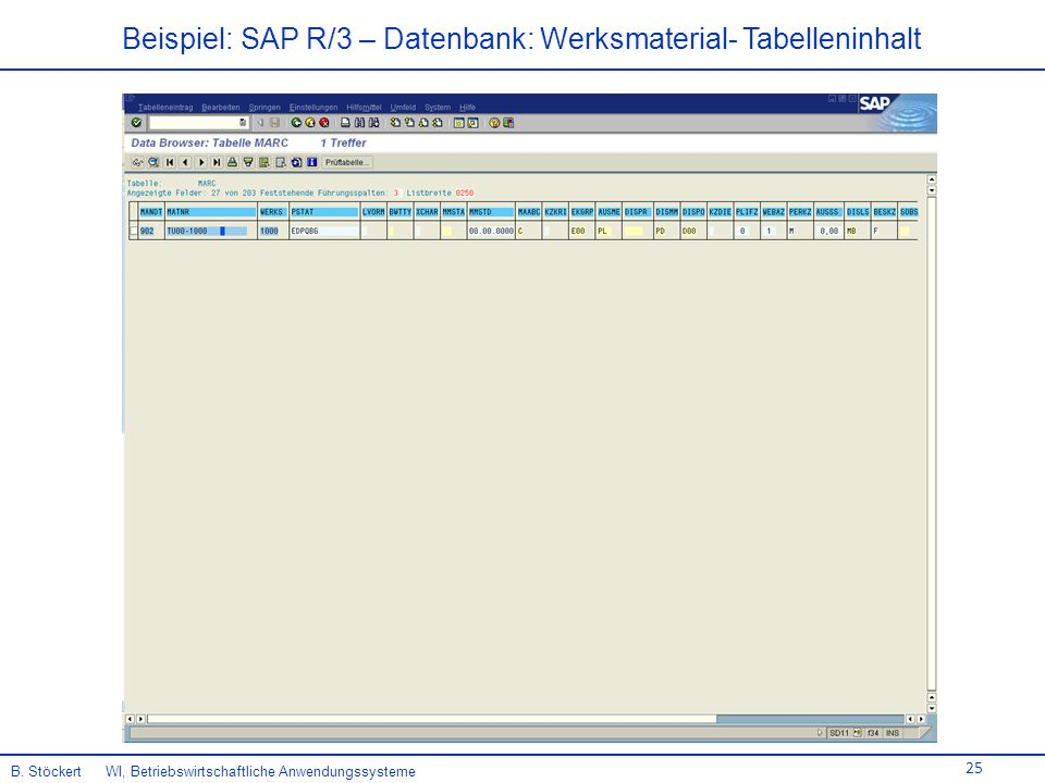 Beispiel: SAP R/3 – Datenbank: Werksmaterial- Tabelleninhalt