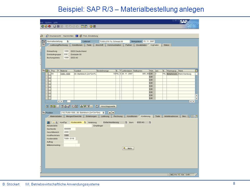 Beispiel: SAP R/3 – Materialbestellung anlegen