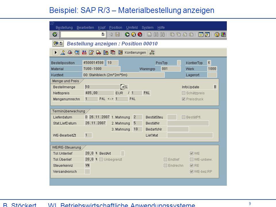 Beispiel: SAP R/3 – Materialbestellung anzeigen