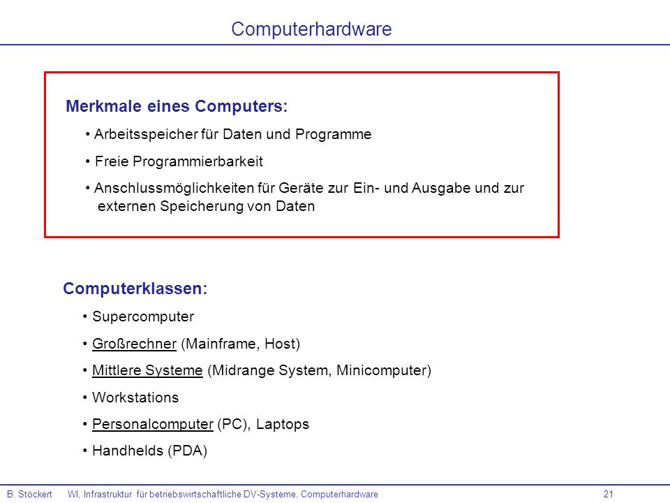 Computerhardware Merkmale eines Computers: Computerklassen: