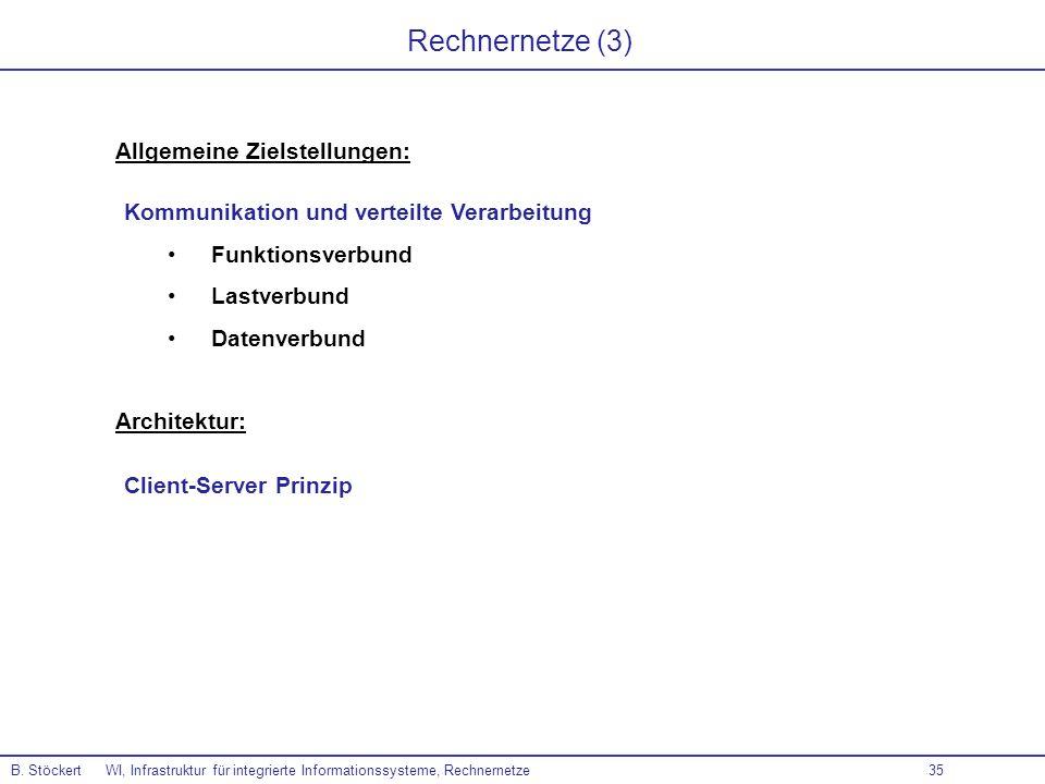 Rechnernetze (3) Allgemeine Zielstellungen: