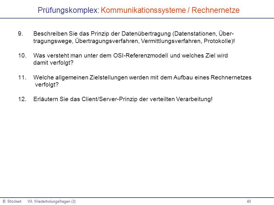 Prüfungskomplex: Kommunikationssysteme / Rechnernetze