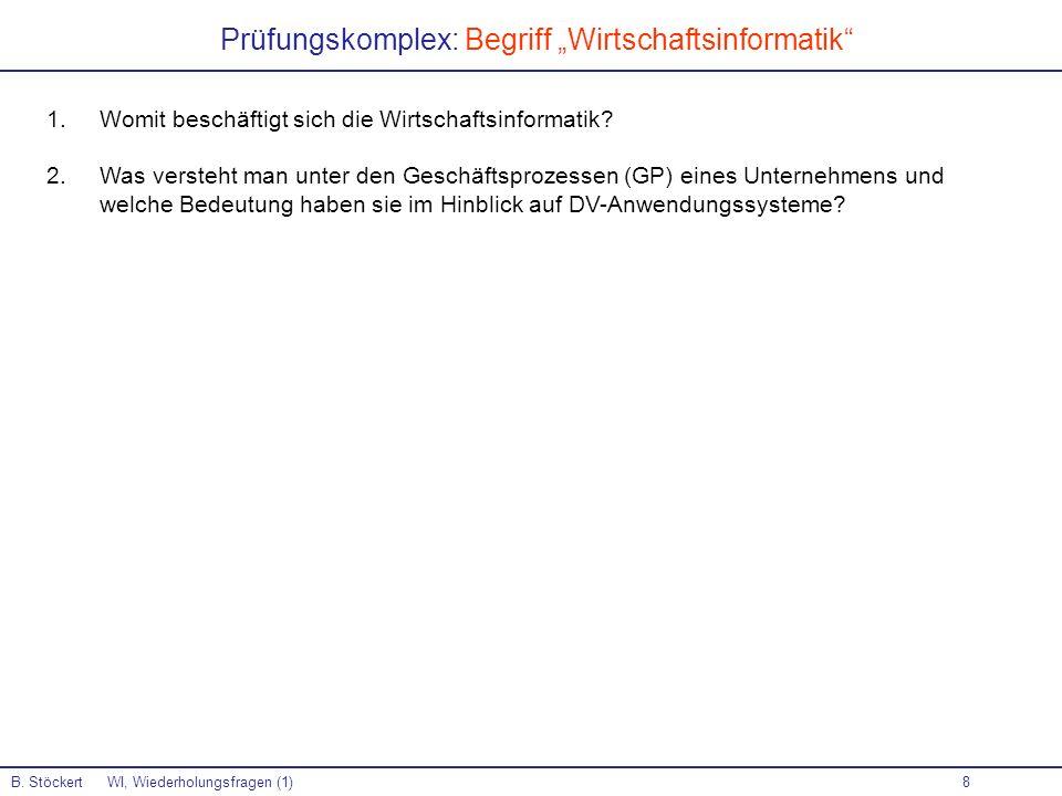 """Prüfungskomplex: Begriff """"Wirtschaftsinformatik"""
