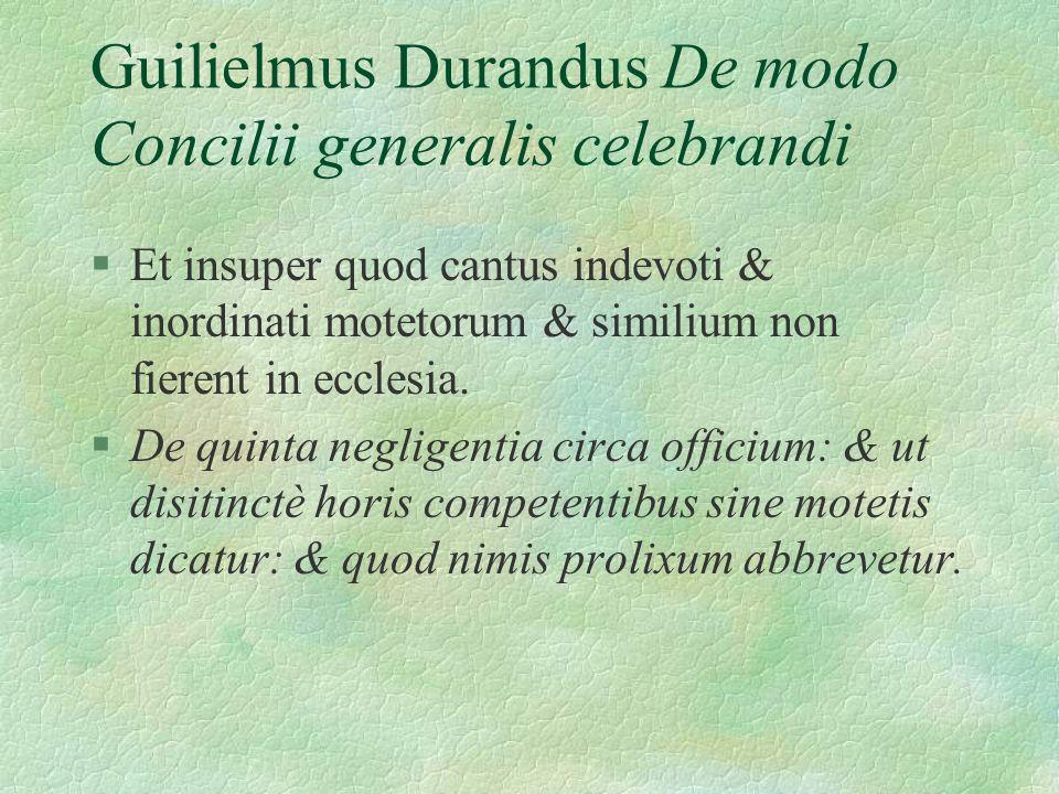 Guilielmus Durandus De modo Concilii generalis celebrandi