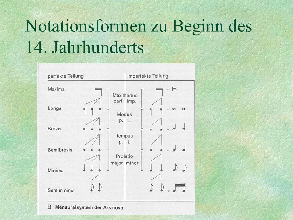 Notationsformen zu Beginn des 14. Jahrhunderts