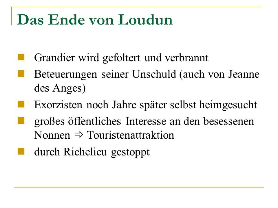 Das Ende von Loudun Grandier wird gefoltert und verbrannt