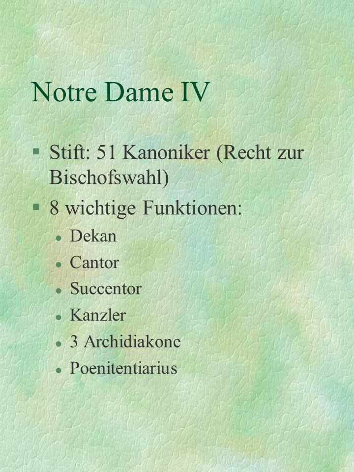 Notre Dame IV Stift: 51 Kanoniker (Recht zur Bischofswahl)