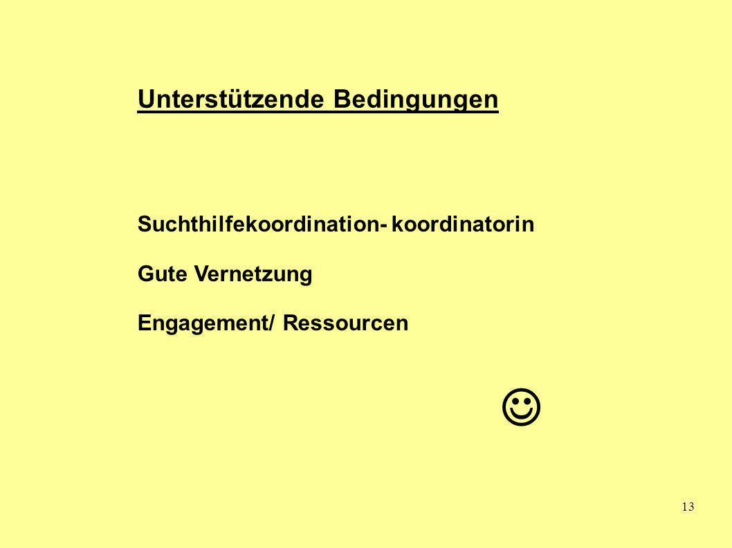  Unterstützende Bedingungen Suchthilfekoordination- koordinatorin