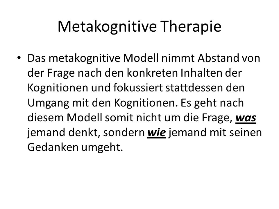 Metakognitive Therapie