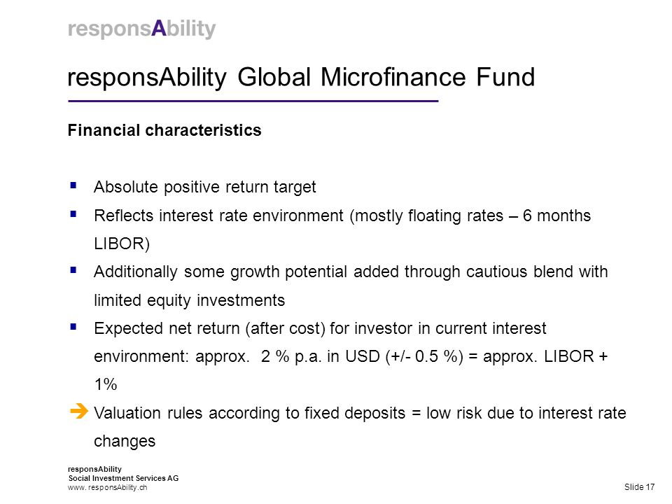 responsAbility Global Microfinance Fund Financial characteristics