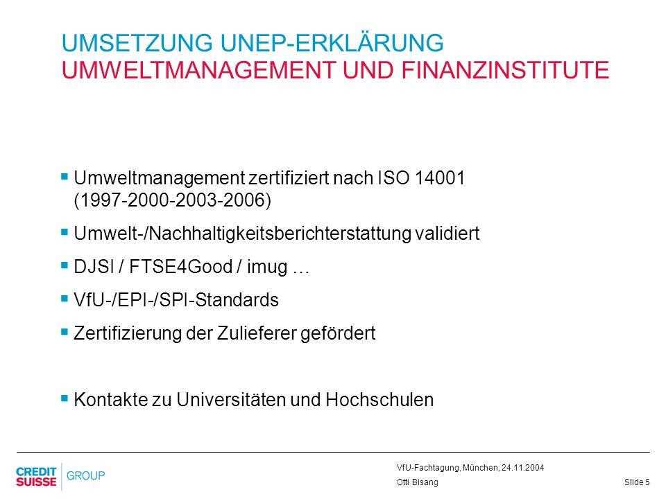 UMSETZUNG UNEP-ERKLÄRUNG UMWELTMANAGEMENT UND FINANZINSTITUTE